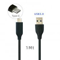 CAQ-115-BK CAVO USB3.0 TIPO C/A M/M 1M