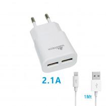 CCT-1068-WT CARICATORE DA RETE USBX2 CON CAVO MICRO