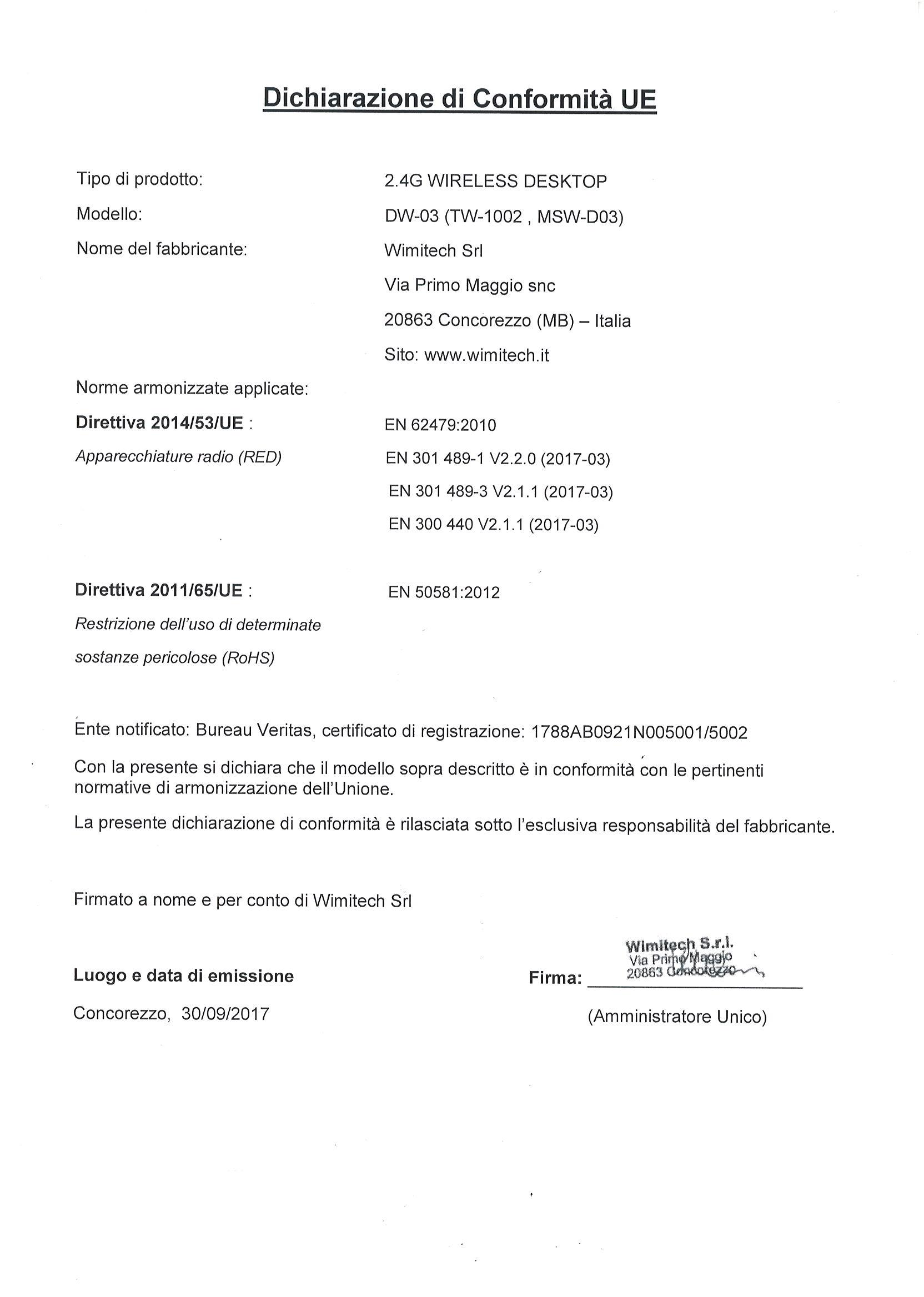 dichiarazione di conformita DW-03