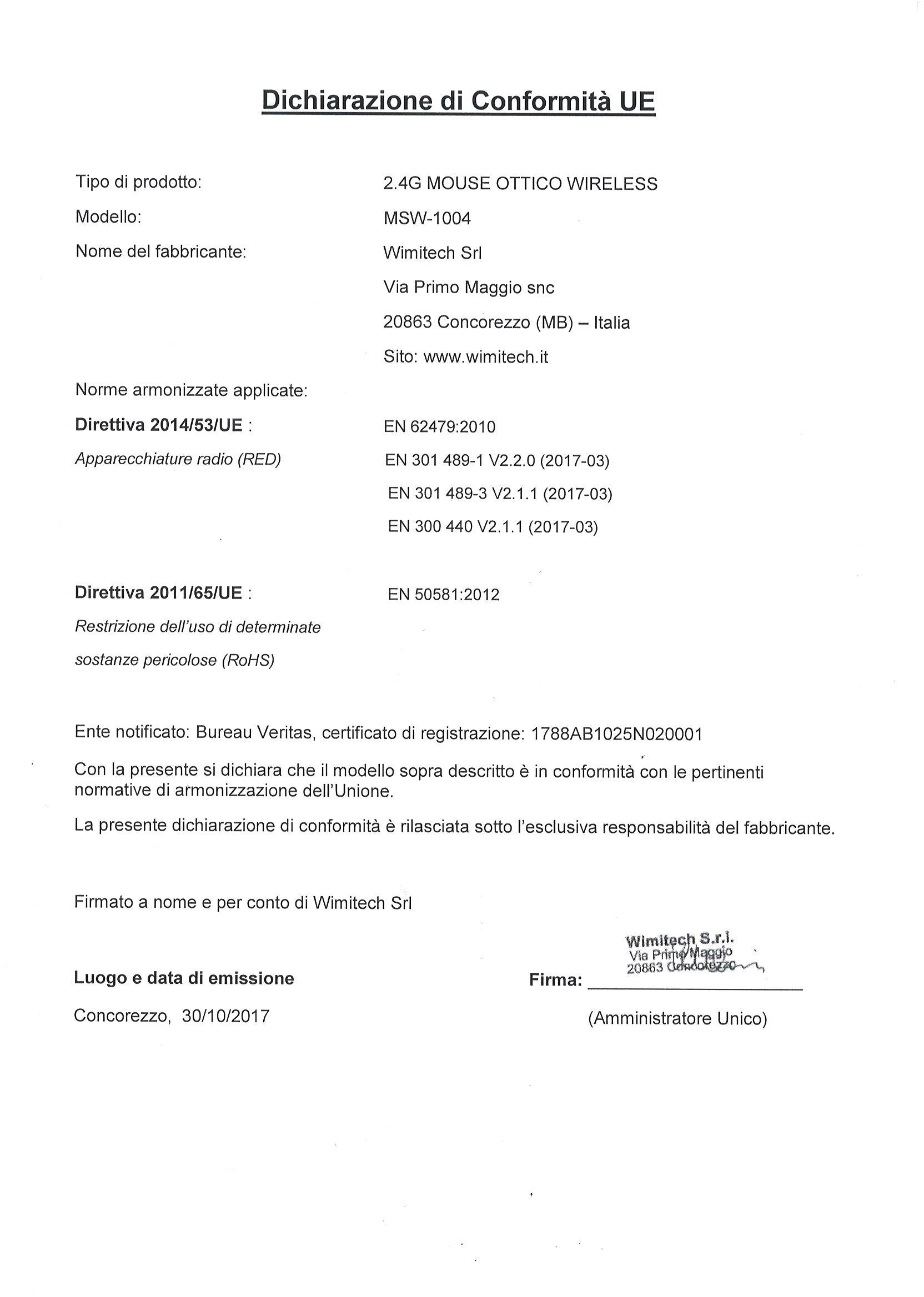 dichiarazione di conformita MSW-1004