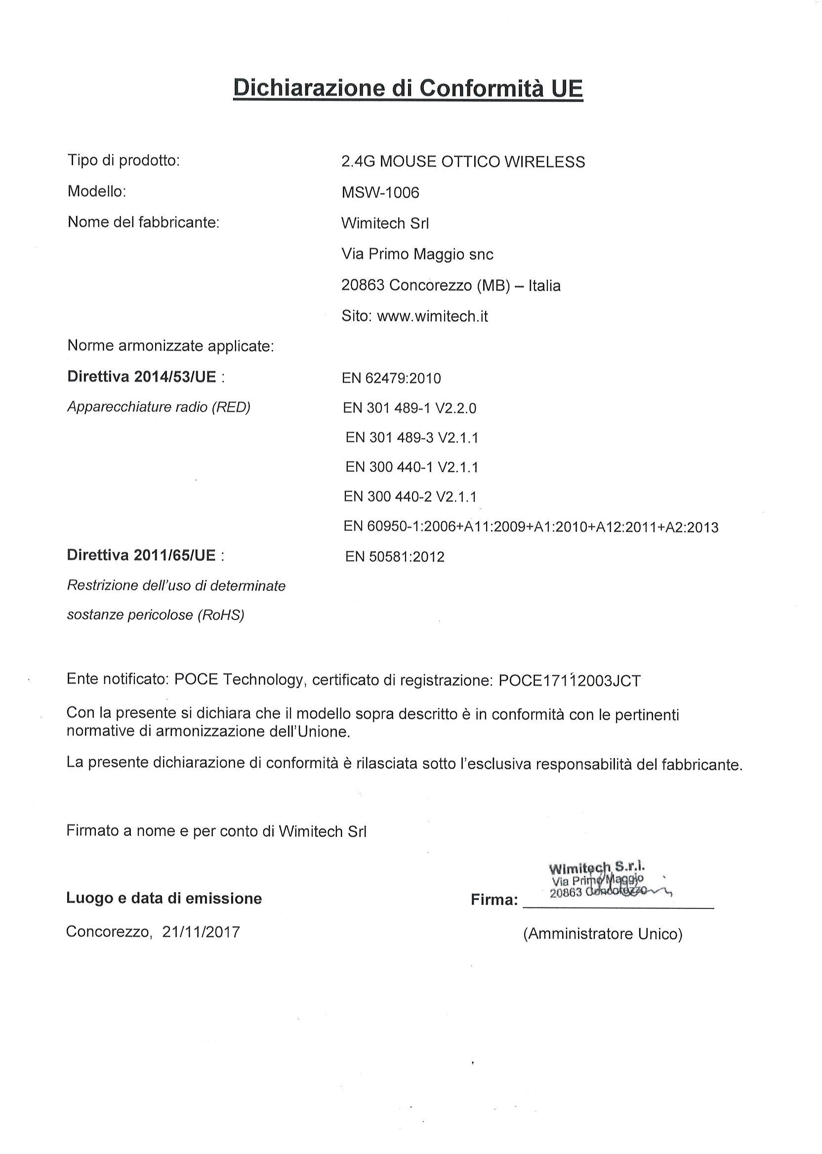 dichiarazione di conformita MSW-1006